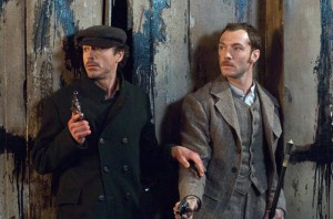 Sherlock Holmes movie scene with Robert Downey Jr. and Jude Law
