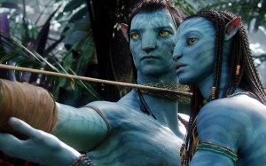 Avatar movie scene with characters of Sam Worthington and Zoe Saldana