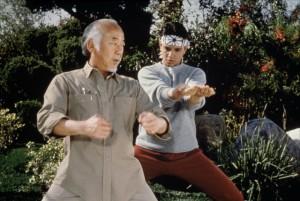 The Karate Kid movie scene with Pat Morita and Ralph Macchio