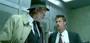 Seven movie scene with Morgan Freeman and Brad Pitt