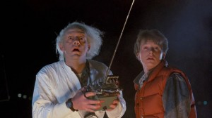 Back to the Future movie scene with Christopher Lloyd and Michael J. Fox