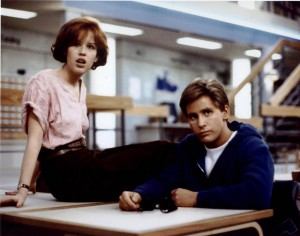 The Breakfast Club movie scene with Molly Ringwald and Emilio Estevez