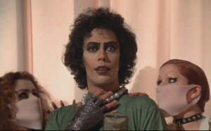 The Rocky Horror Picture Show movie scene with Tim Curry