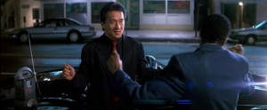 Rush Hour movie scene with Jackie Chan and Chris Tucker