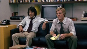 All the President's Men movie scene with Dustin Hoffman and Robert Redford