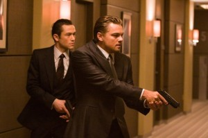 Inception movie scene with Joseph Gordon Levitt and Leonardo DoCaprio