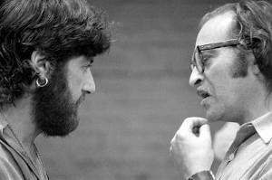 Al Pacino and Sidney Lumet on the set of Serpico.