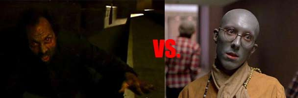 Priest zombie from 28 Days Later vs Hare Krishna zombie from Dawn of the Dead