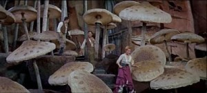 The adventurers come upon a patch of mushrooms--big ones!--in Journey to the Center of the Earth.