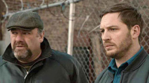 James Gandolfini (l.) and Tom Hardy in The Drop