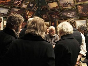 Mike Leigh and company on the set of the Royal Academy of Art in Mr. Turner.