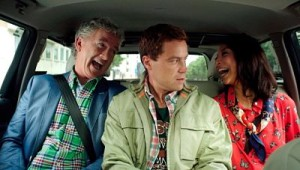 Greg Poehler (ctr.) with parents Illeana Douglas and Patrick Duffy in Welcome to Sweden.