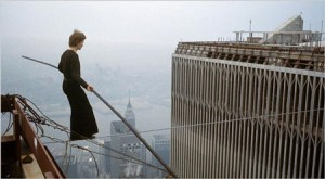 Philippe Petit on the morning of August 7, 1974