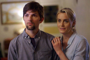 Taylor Schilling and Adam Scott in The Overnight