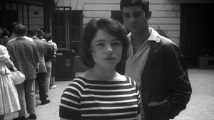 Betty Schneider wears the stripes in Jacques Rivette's Paris Belongs to Us.