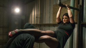 Gina Carano swings into action in Extraction.