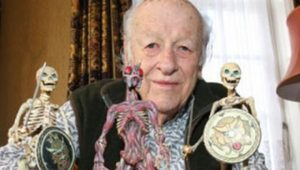 Special effects master Ray Harryhausen and a trio of his most skeletal creations.