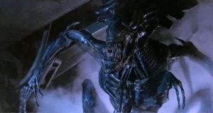 Sigourney Weaver squares off against the Alien Queen in Aliens