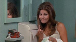 Raquel Welch makes her point in Fuzz.