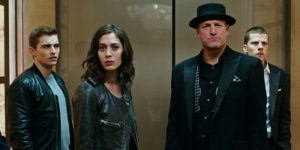 Dave Franco, Lizzy Caplan, Woody Harrelson, and Jesse Eisenberg in Now You See Me 2